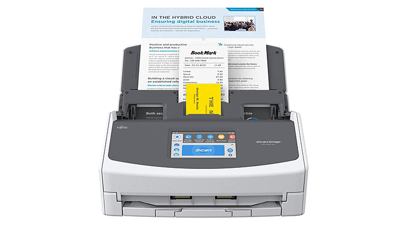 Fujitsu ScanSnap iX1500 scanner front view with various documents in it ready to be scanned