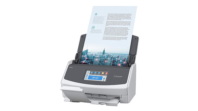 Fujitsu ScanSnap iX1500 Scanner showing document scanning front view