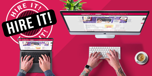 Hire IT! Man's arms using apple device inset on pink background
