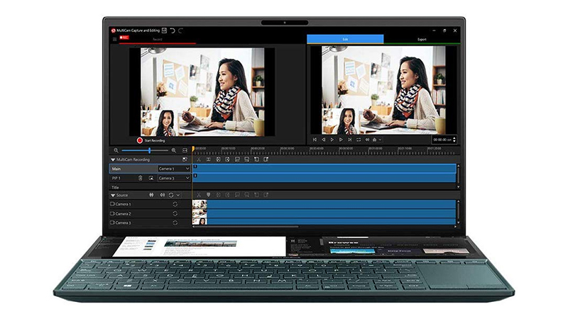 """Asus ZenBook Duo 14"""" laptop open view showing both screens dual-screen"""