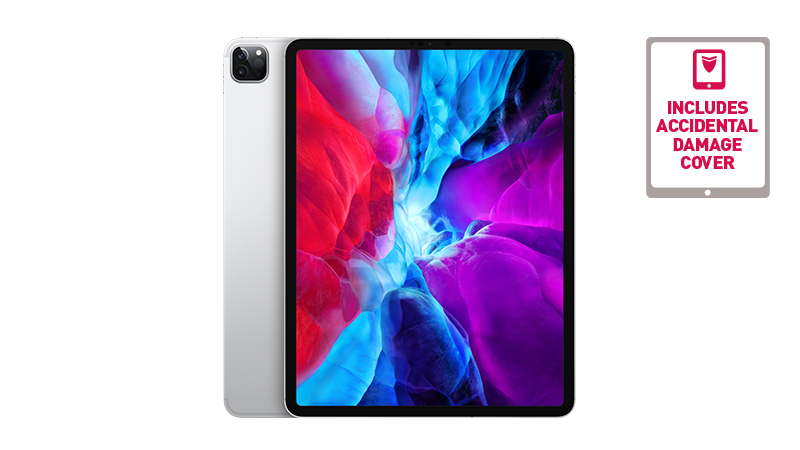 "iPad Pro 12.9"" tablet front and slight back view with camera showing"