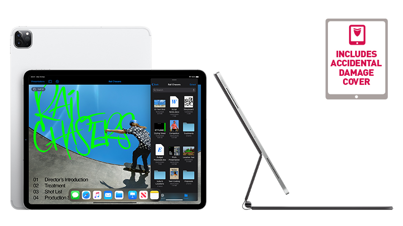 "iPad Pro 12.9"" front landscape view with back view and camera showing. On the right is showing the iPad with keyboard side view"