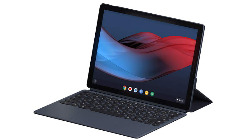 Google Pixel Slate side view of tablet and keyboard with display on