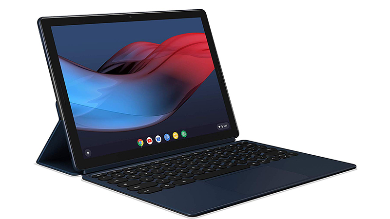 Google Pixel Slate side view open showing keyboard and display on