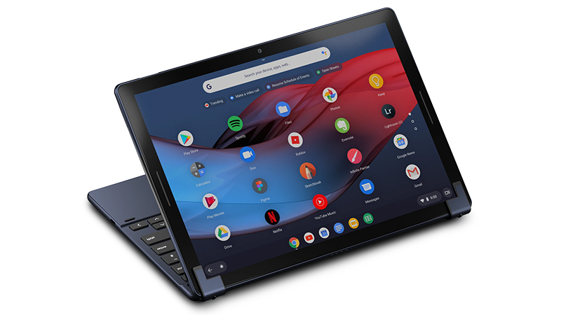 Google Pixel Slate tablet view showing display and keyboard