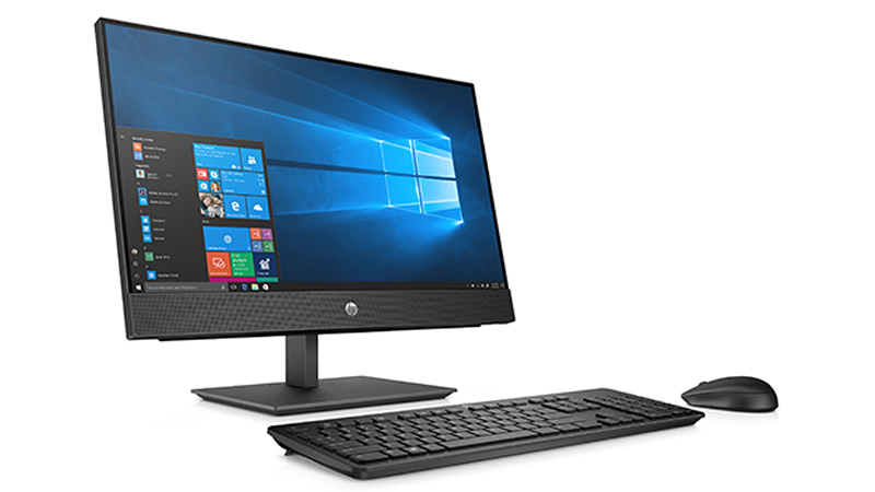 HP ProOne 600 G5 21.5″ All-In-One PC right side view of monitor with keyboard and mouse