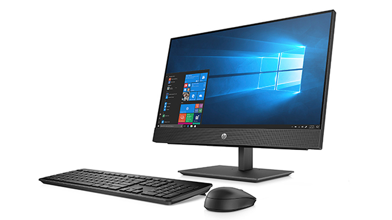 HP ProOne 600 G5 21.5″ All-In-One PC left side view of monitor with keyboard and mouse
