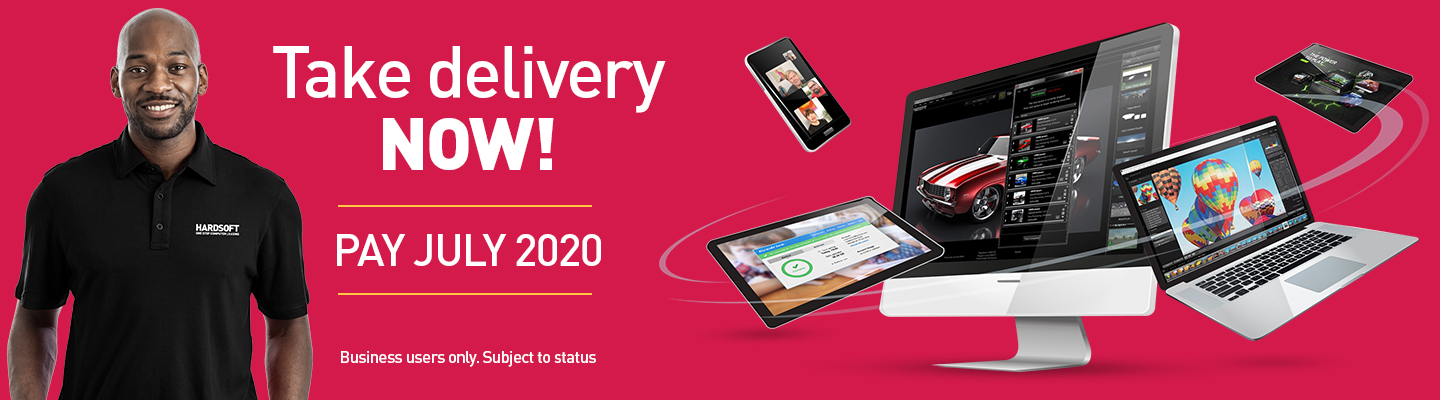 Take Delivery NOW! - Pay July 2020. Showing a PC Desktop with laptops, phones and tablets swirling around it