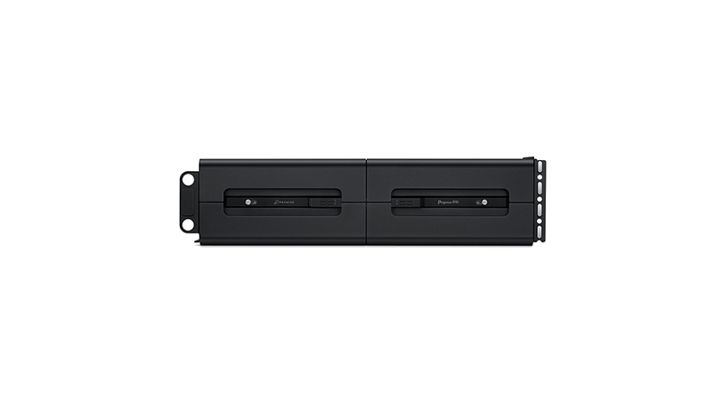 Promise Pegasus R4i 32TB RAID MPX Module for Mac Pro side view of chassis and internal storage with the name in view