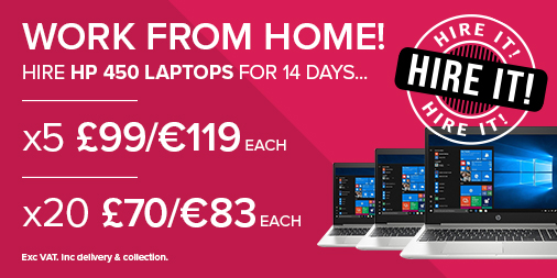 Work from home offer - pink background with HP laptops