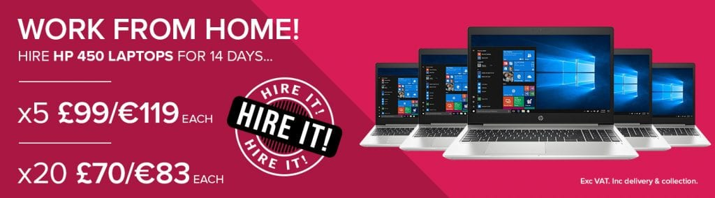 WORK FROM HOME - Hire 5 or 20 Laptops on short-term hire from HardSoft