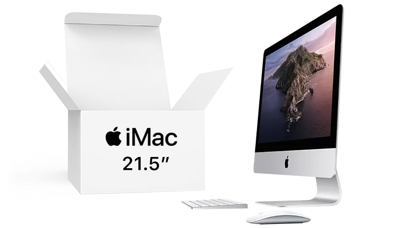 "iMac 21"" side view with keyboard and mouse next to a BOX OPEN"