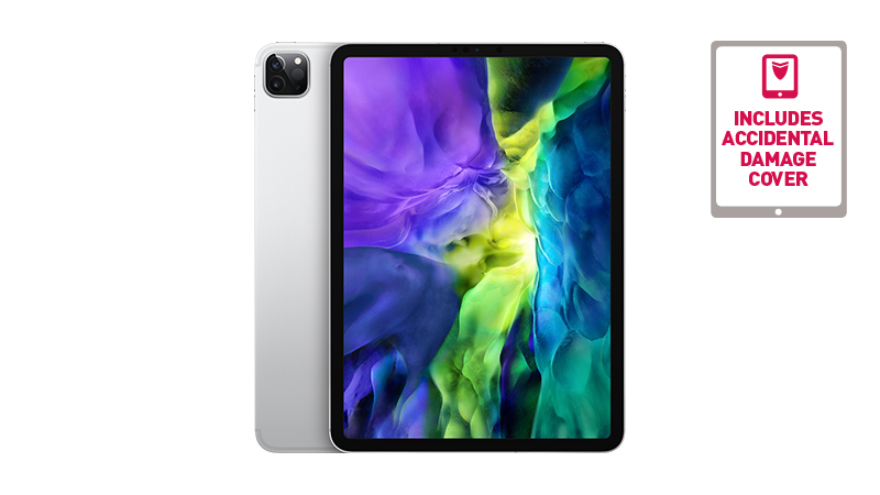 """iPad Pro 11"""" tablet front and slight back view with camera showing"""