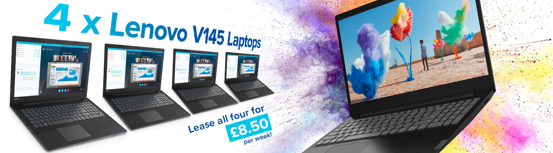 4 x Lenovo V145 Laptops - lease all four for £8.50 per week showing colours splashing over the laptops