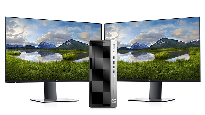HP EliteDesk with dual display - 2 x Dell displays