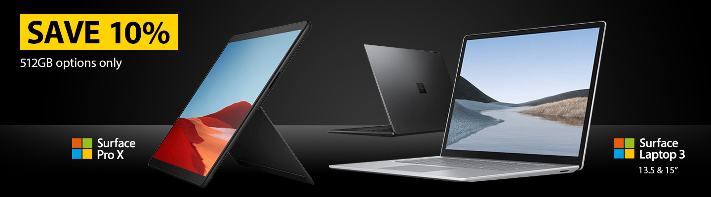 Save 10% on 512GB Options on the Surface Pro X and the Surface Laptop 3