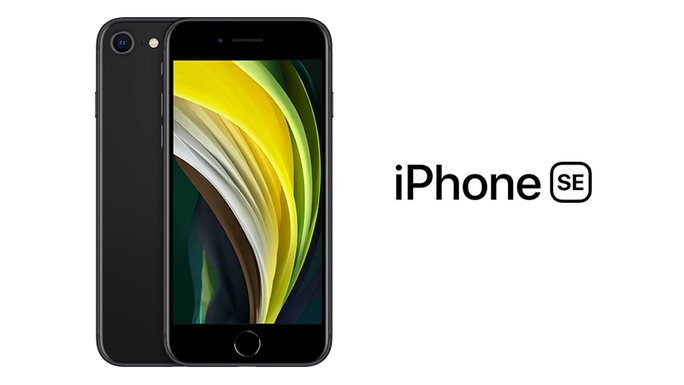 iPhone SE in black showing front and back