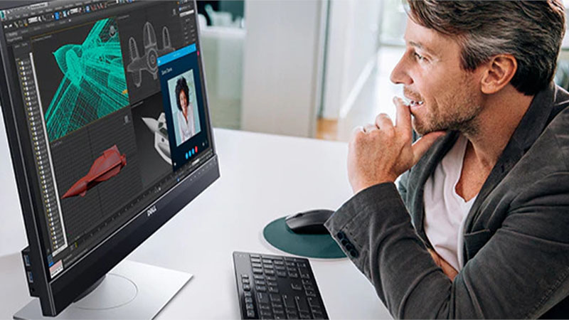 """Dell 24"""" Video Conferencing Display showing man in a virtual meeting with the display"""