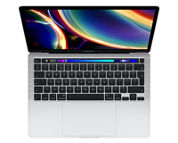 "The new 2020 MacBook Pro 13"" open keyboard looking down view"
