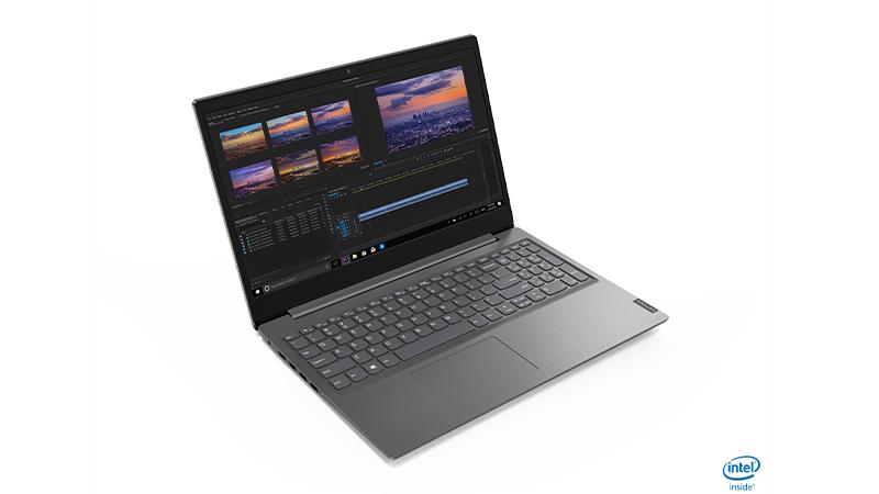 Lenovo V15 Laptop side open view - intel inside