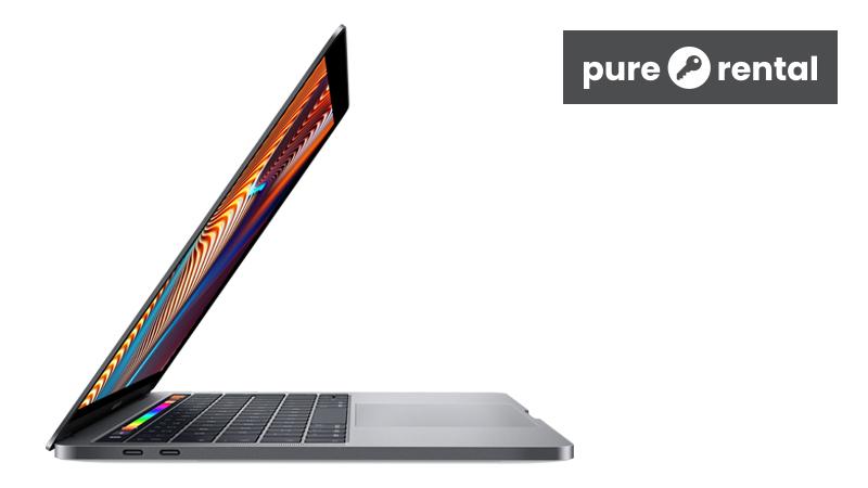 "MacBook Pro 13"" (2019) on Pure Rental side open view"