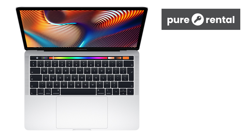 """MacBook Pro 13"""" (2019) on Pure Rental front open view"""