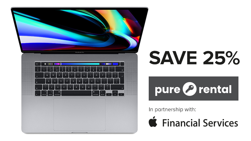 """MacBook Pro 16"""" - Save 25% on pure rental in partnership with Apple Financial Services"""