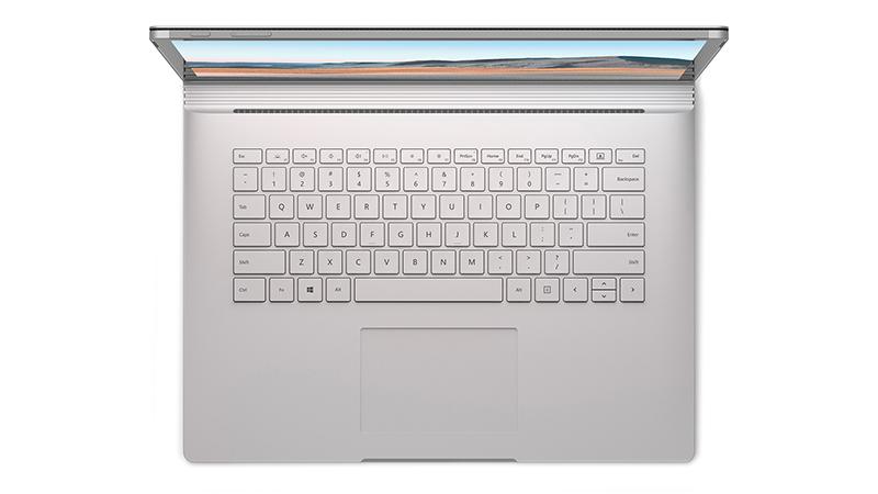 "Surface Book 3 15"" open birds eye view of keyboard"