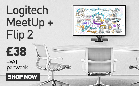 Logitech MeetUp + Flip 2 with picture showing a table and 3 chairs with the Flip 2 and bundle in front of it - £38 + VAT per month