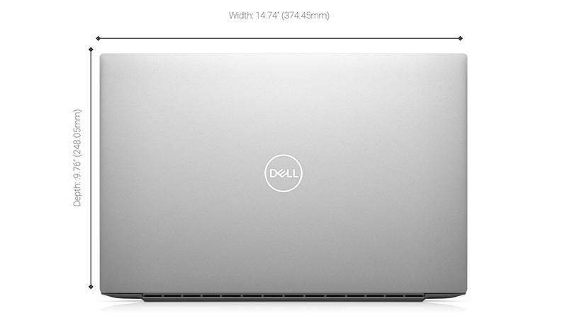 Dell XPS back closed view showing the width and depth of laptop