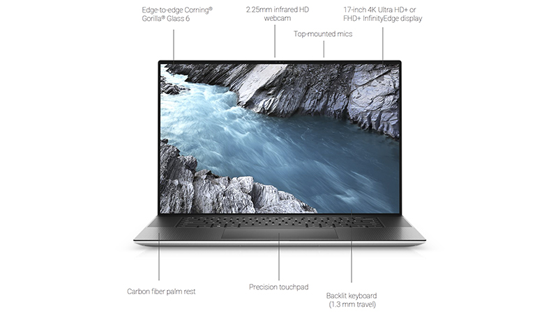 Dell XPS 17 front open view and also labelling the features around the laptop