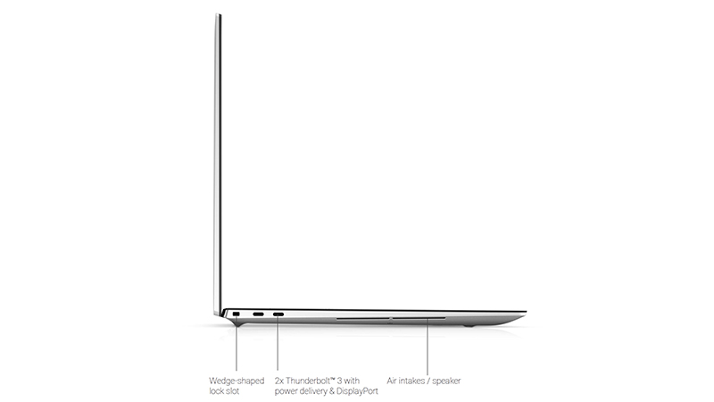 Dell XPS 17 showing side of laptop and the ports which is the wedge-shaped lock slot, 2 x Thunderbolt 3 power delivery & DisplayPort and Air intakes/speaker