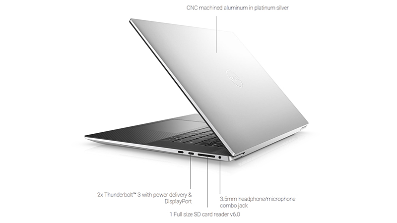 Dell XPS 17 side closed view showing ports on the side