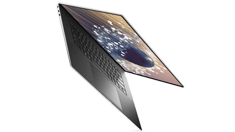 Dell XPS 17 front open side view pointing down