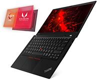 Lenovo ThinkPad T14S front full open view showing Ryzen Pro & Radeon Vega Graphics logo
