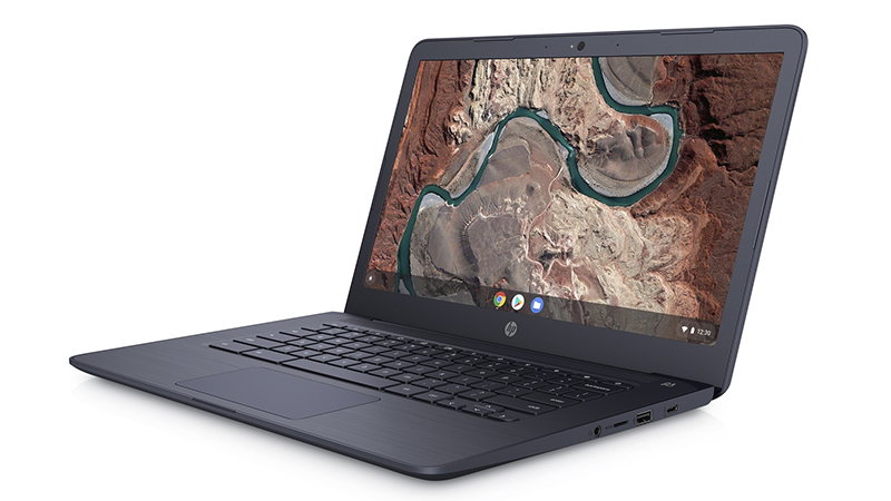 HP Chromebook 14A G5 Laptop front open side view