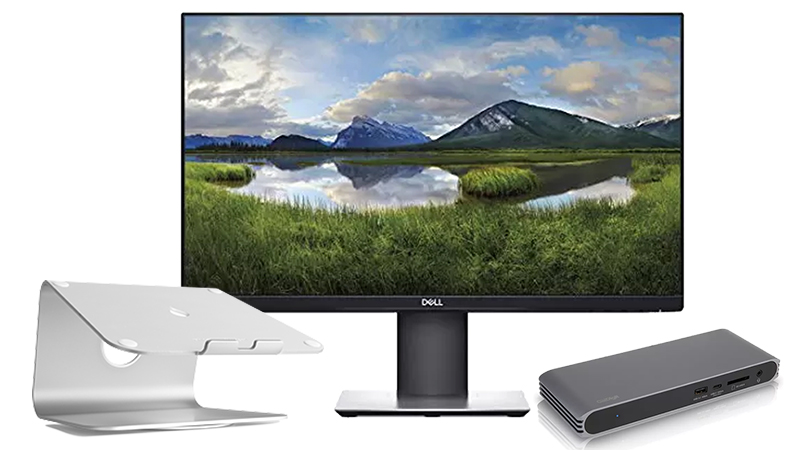 Work From Bundle with Dell display, mStand and CalDigit USB-C Pro Dock