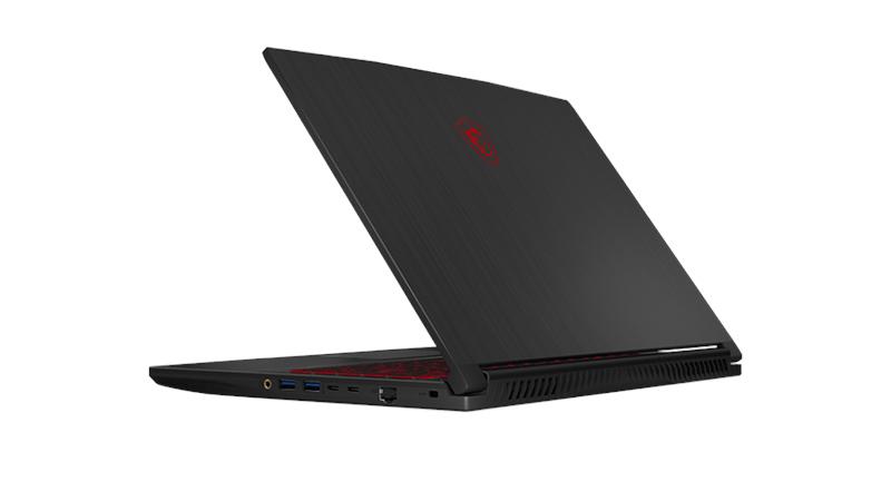 "MSI GF65 Thin 15.6"" laptop back open view"