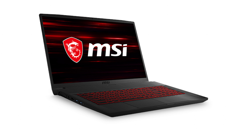 "MSI GF75 Thin 17.3"" laptop open side view"