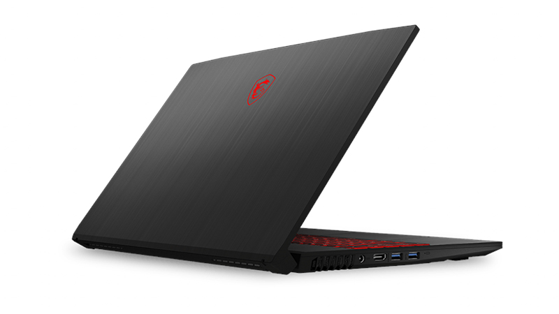 "MSI GF75 Thin 17.3"" laptop back side open view"