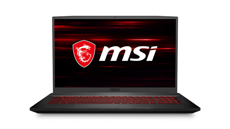 "MSI GF75 Thin 17.3"" laptop front open view"