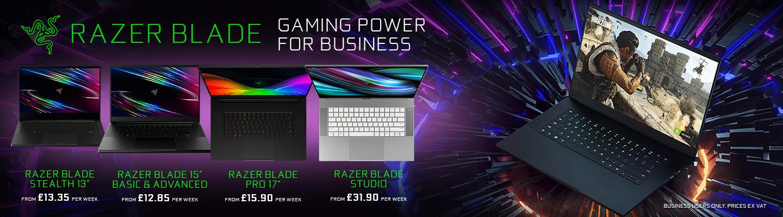 Razer Blade Gaming Power for Business - Showing the Razer Blade Stealth 13, 15 Base & Advanced, Pro 17 & Razer Blade Studio