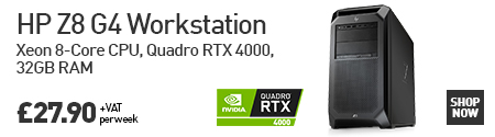 HP Z8 G4 Workstation Xeon 8-Core CPU, Quadro RTX 4000, 32GB RAM £27.90 + VAT per week