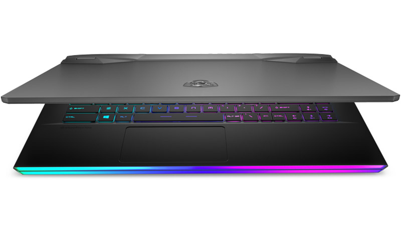 "MSI GE66 Raider 15.6"" laptop slight closed view"
