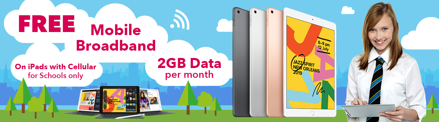 FREE Mobile Broadband on iPads with Cellular for Schools only 2GB Data per month