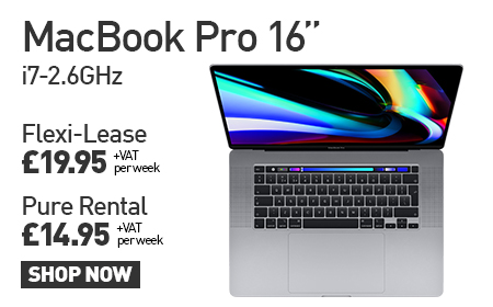 "MacBook Pro 16"" i7-2.6GHz Flexi-Lease £19.95 + VAT per week Pure Rental £14.95 + VAT per week"