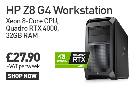 HP Z8 G4 Workstation Xeon 8-Core CPU, Quadro RTX 4000, 32GB RAM £27.90 + VAT per week