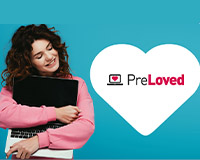 PreLoved in heart with woman holding laptop