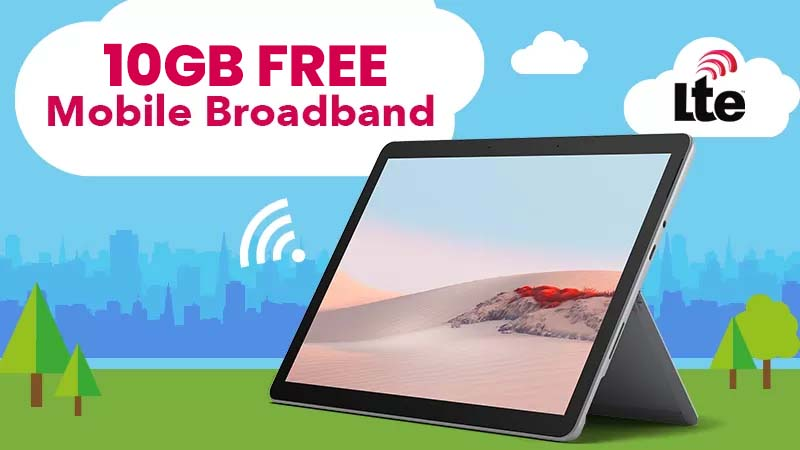 6GB Free Mobile Broadband on the Surface Go 2