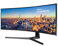 "Samsung CJ89 49"" Widescreen QLED Curved Display side front view"